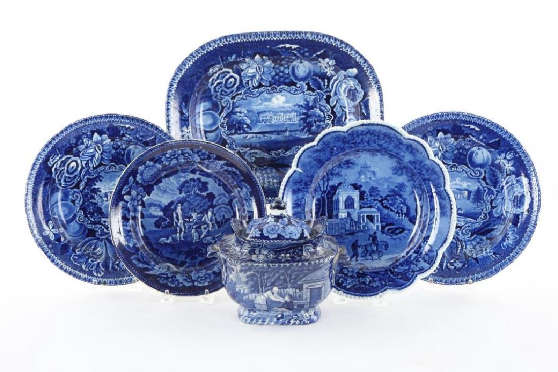 (6) PIECES OF BLUE & WHITE TRANSFERWARE