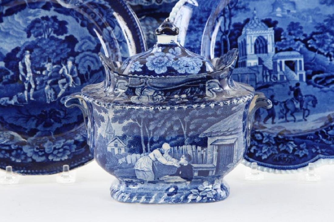 (6) PIECES OF BLUE & WHITE TRANSFERWARE - 5