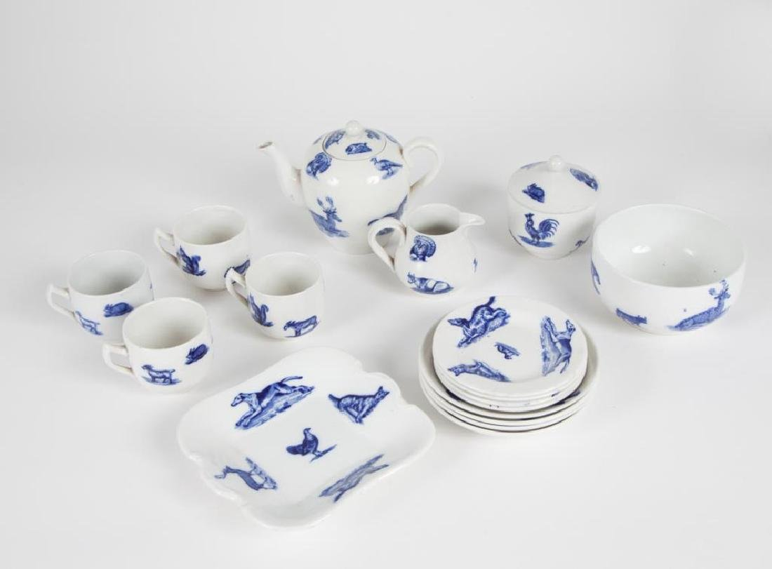 COPELAND SPODE CHILD'S BLUE & WHITE TEA SET - 5