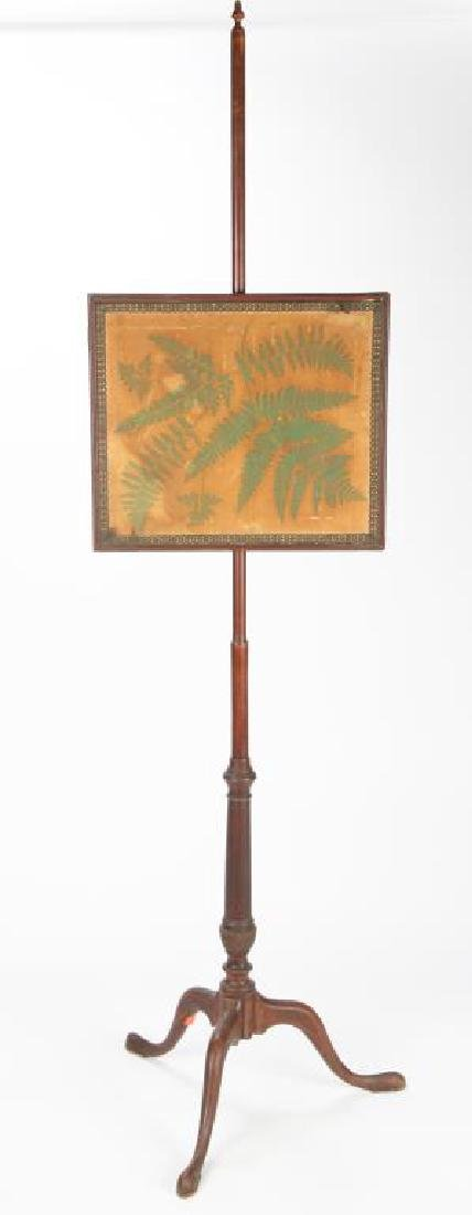 QUEEN ANNE MAHOGANY POLE SCREEN with FERN STENCIL