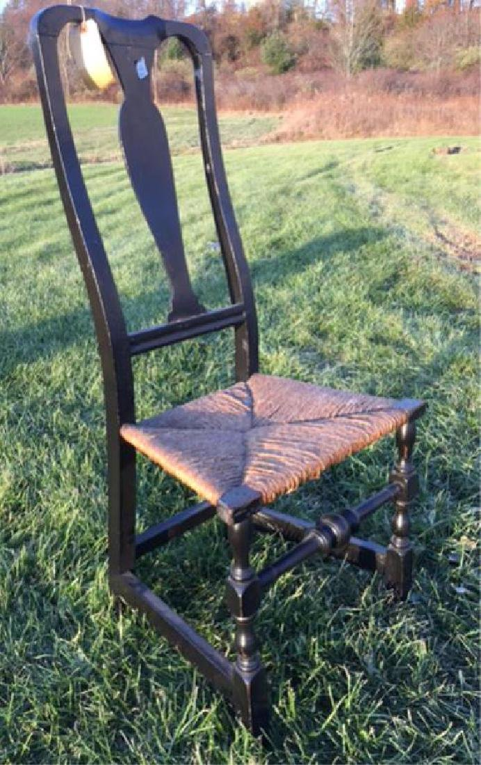 (18thc ) TRANSITIONAL SIDE CHAIR with RUSH SEAT