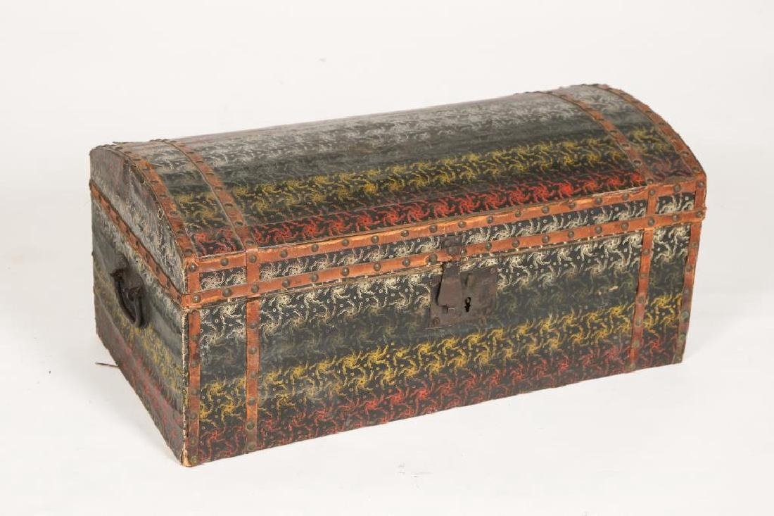 DOME TOP CHEST COVERED with POLYCHROME OIL CLOTH