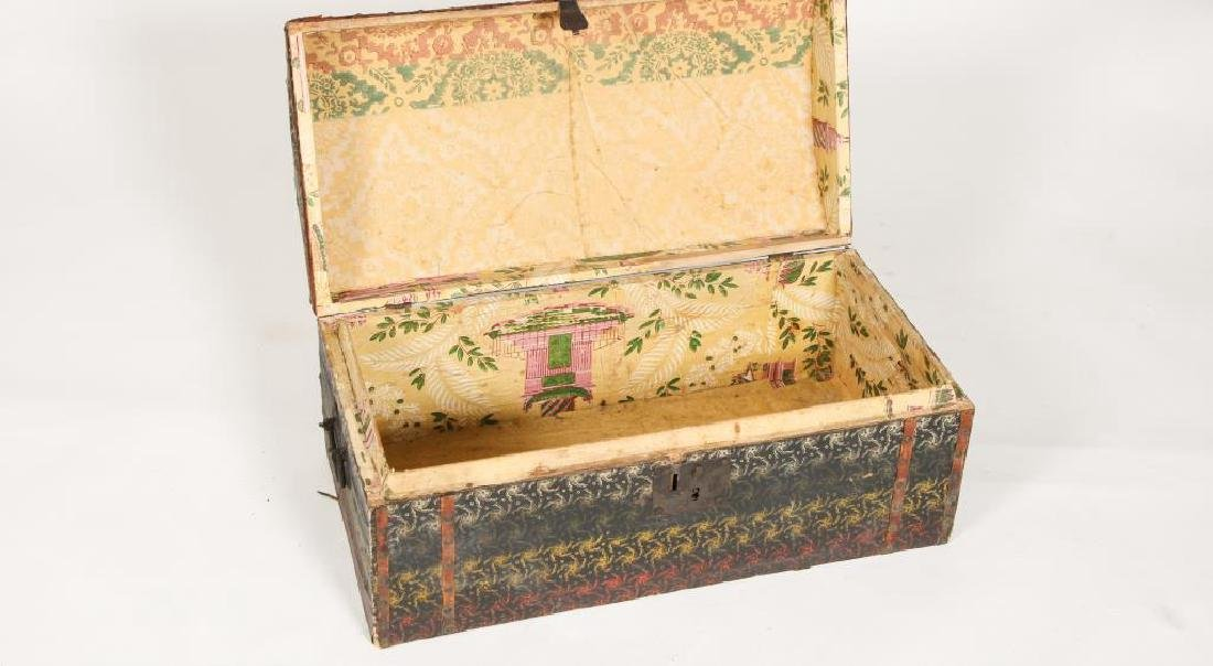 DOME TOP CHEST COVERED with POLYCHROME OIL CLOTH - 2