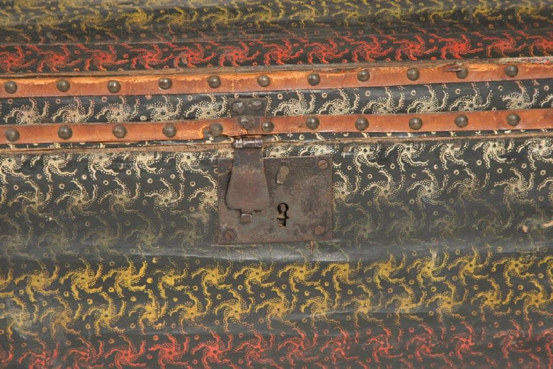DOME TOP CHEST COVERED with POLYCHROME OIL CLOTH - 4