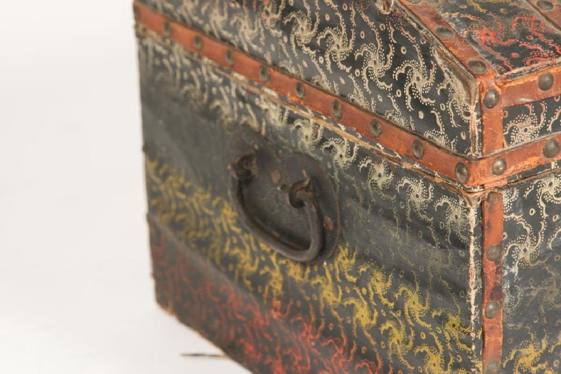 DOME TOP CHEST COVERED with POLYCHROME OIL CLOTH - 5