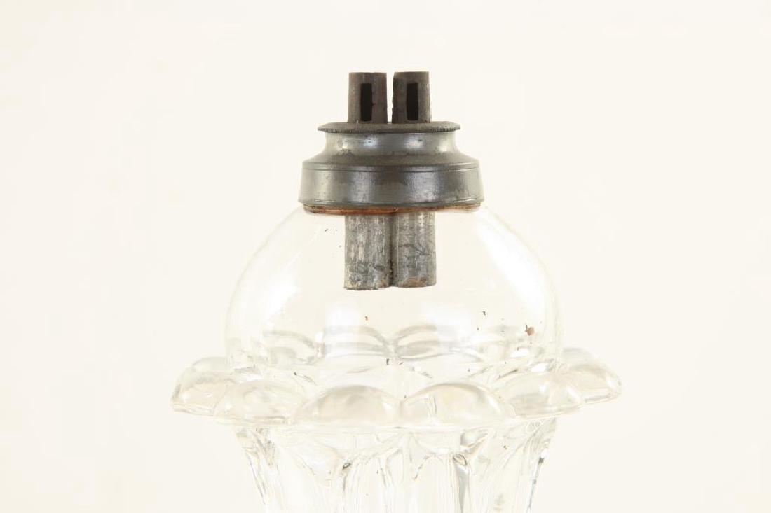 """PAIR SANDWICH PETAL FONT """"TULIP"""" WHALE OIL LAMPS - 2"""
