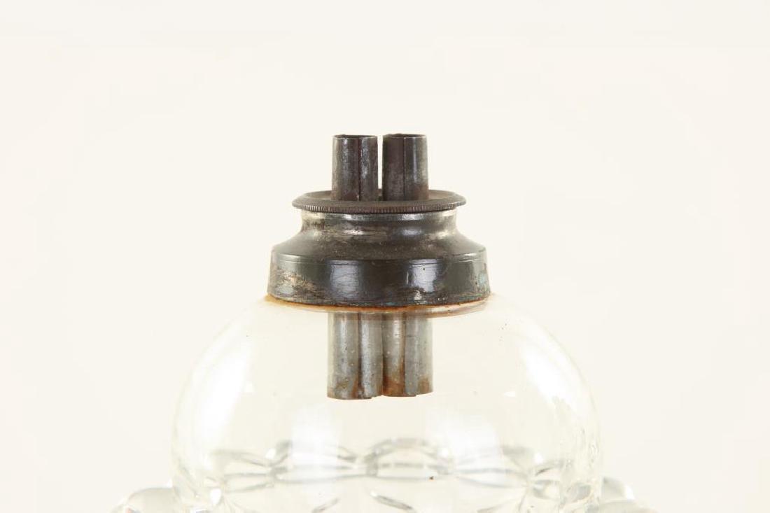 """PAIR SANDWICH PETAL FONT """"TULIP"""" WHALE OIL LAMPS - 5"""