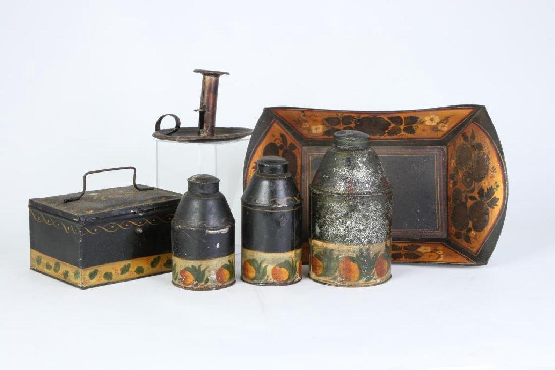 (6) PIECES OF HAND PAINTED JAPANNED TIN TOLEWARE