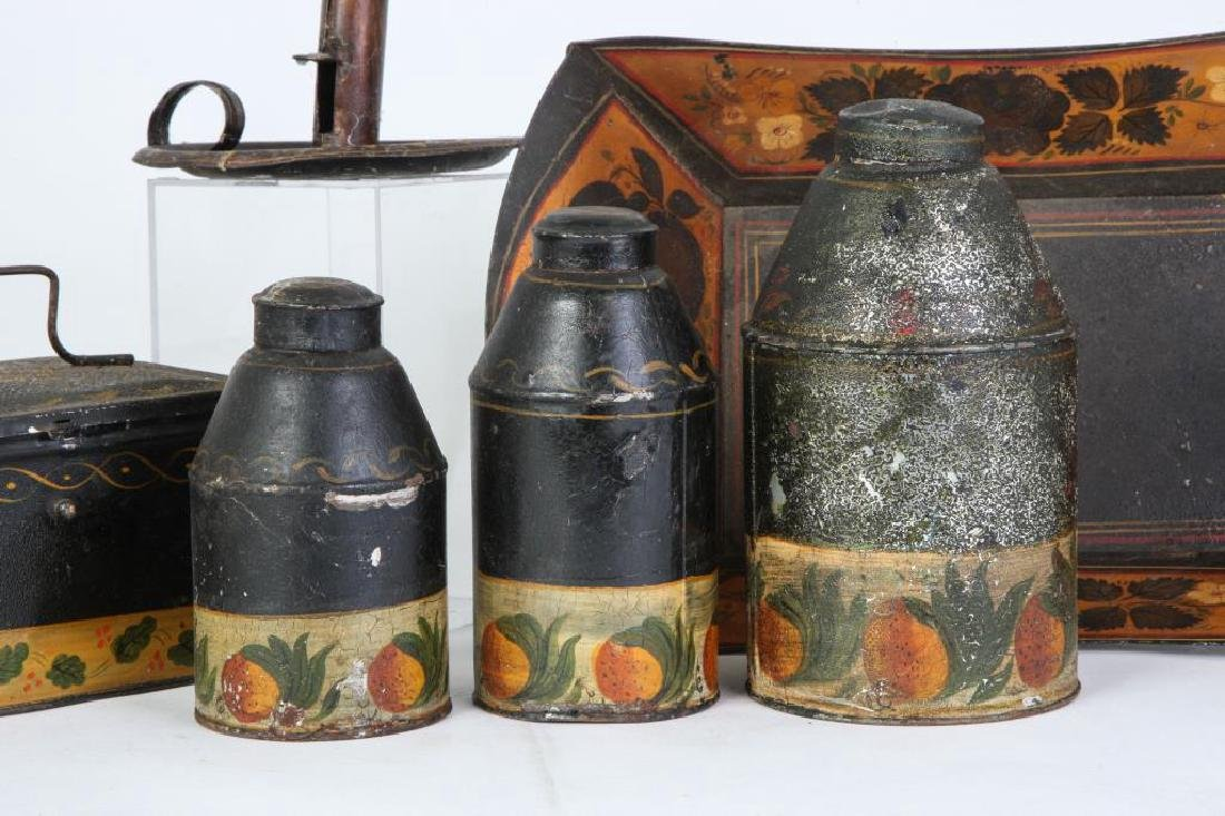 (6) PIECES OF HAND PAINTED JAPANNED TIN TOLEWARE - 4