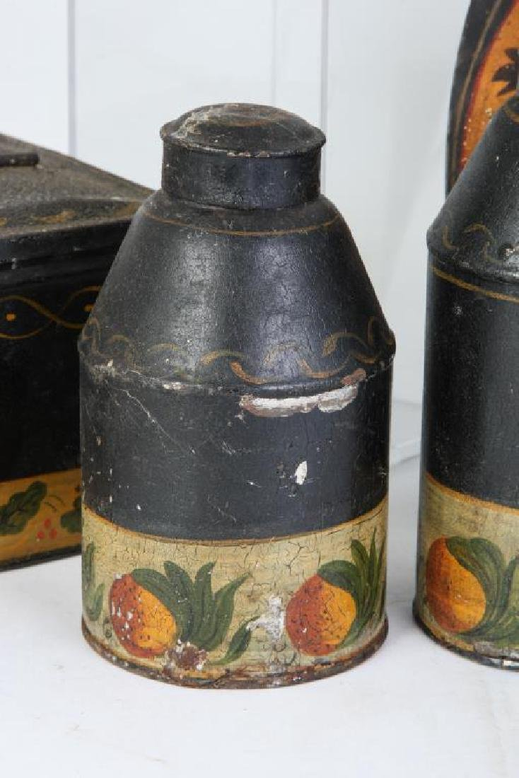 (6) PIECES OF HAND PAINTED JAPANNED TIN TOLEWARE - 5