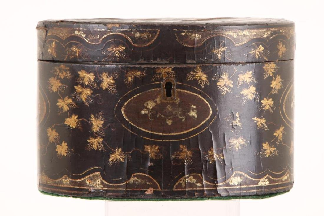 (19th c) BLACK LACQUER OVAL TEA CADDIE