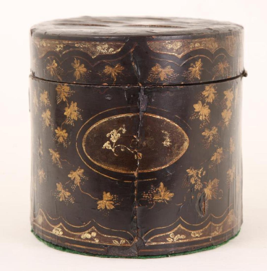 (19th c) BLACK LACQUER OVAL TEA CADDIE - 4