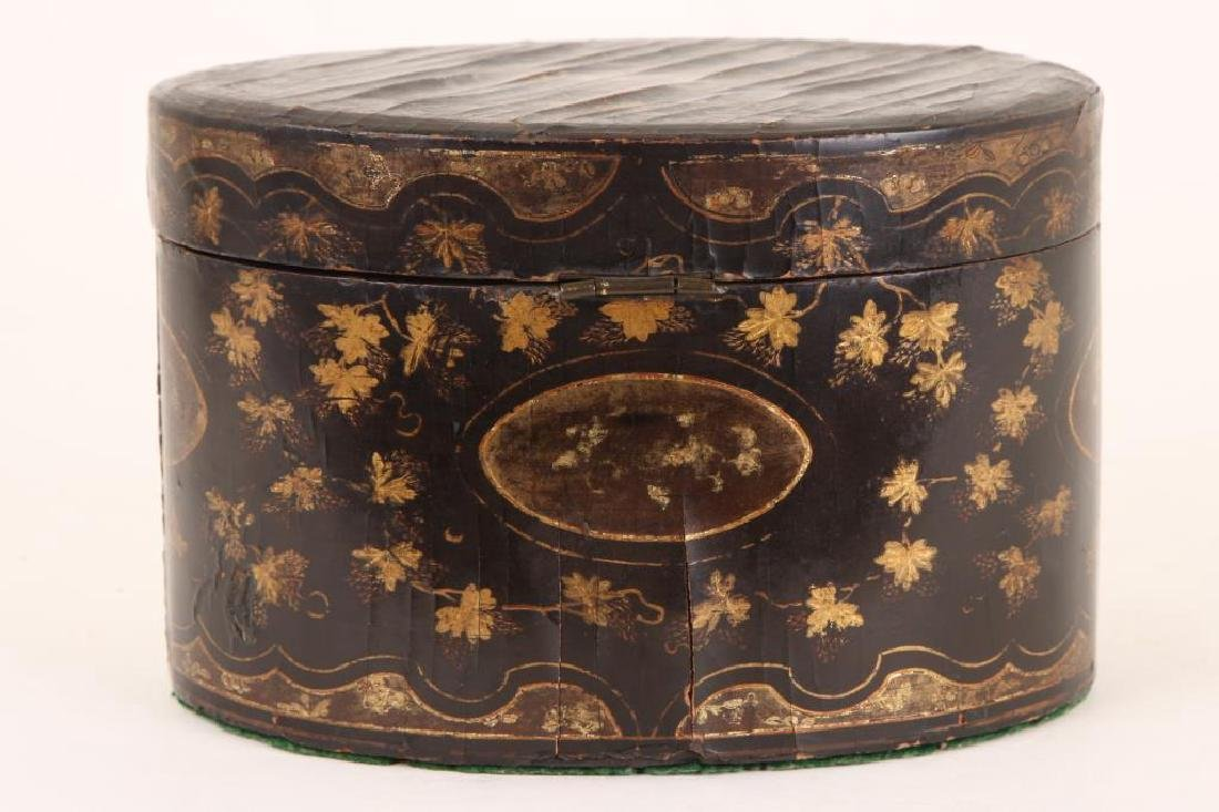 (19th c) BLACK LACQUER OVAL TEA CADDIE - 5
