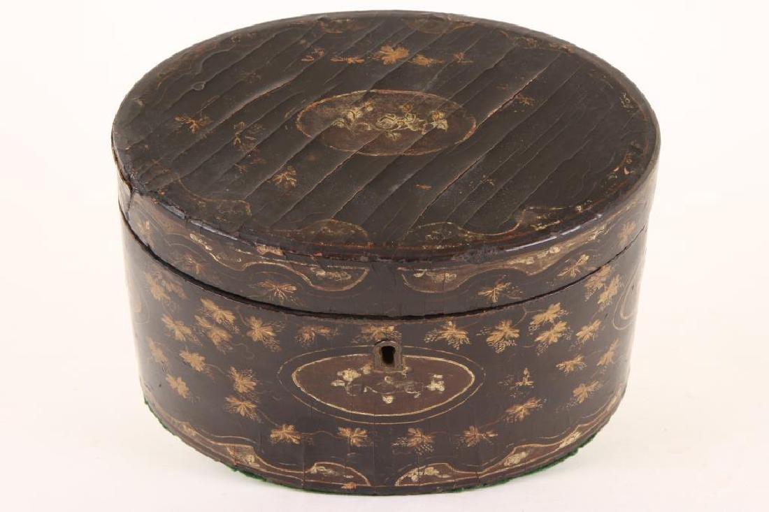 (19th c) BLACK LACQUER OVAL TEA CADDIE - 6