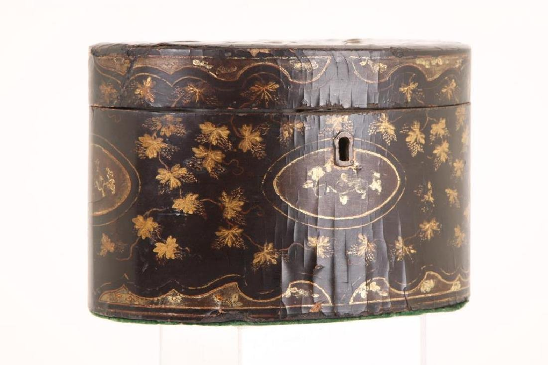 (19th c) BLACK LACQUER OVAL TEA CADDIE - 7