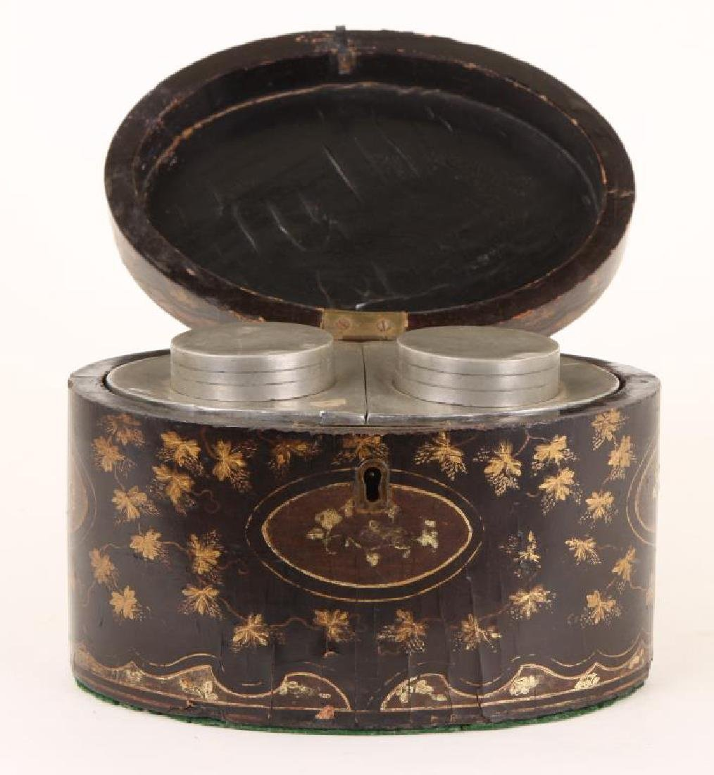 (19th c) BLACK LACQUER OVAL TEA CADDIE - 8