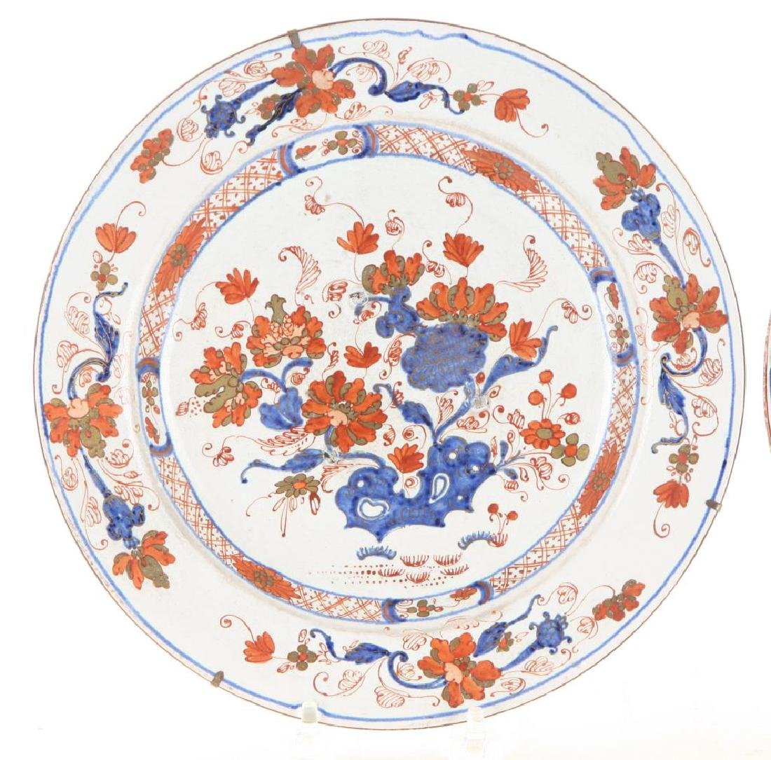 PAIR OF (18th c) DELFT TIN GLAZED PLATES - 3