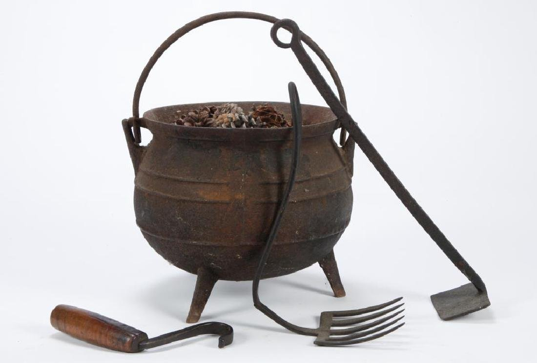 CAST IRON POT, POT LIFTER and (2) EMBER TOOLS