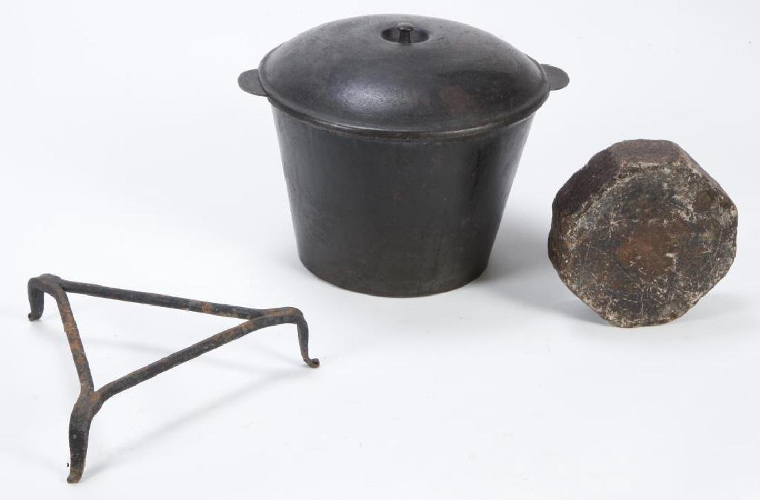 CAST IRON KETTLE with COVER, TRIVET and SOAPSTONE