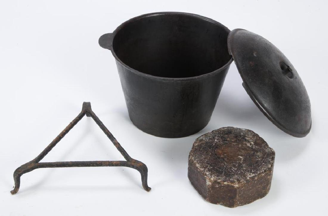 CAST IRON KETTLE with COVER, TRIVET and SOAPSTONE - 2