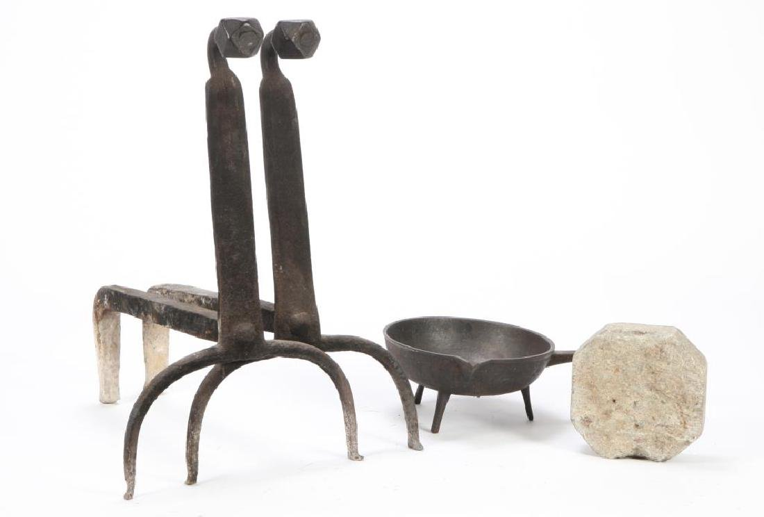 GOOSENECK FACETED ANDIRONS, SKILLET AND SOAPSTONE