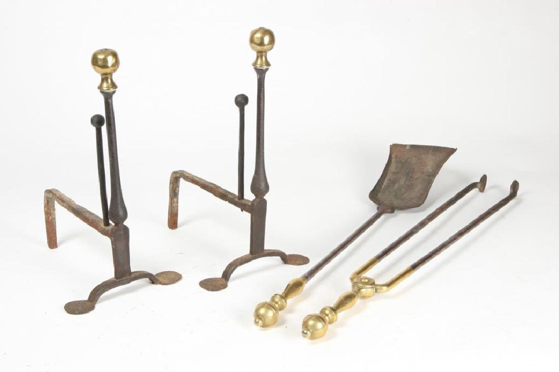 DIMINUTIVE PAIR OF BRASS BALL TOP ANDIRONS & TOOLS