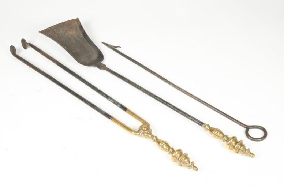 BRASS HANDLED FIREPLACE TOOLS