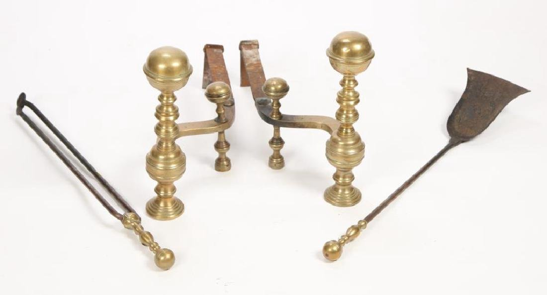 PAIR OF BRASS BALL TOP ANDIRONS and EQUIPMENT