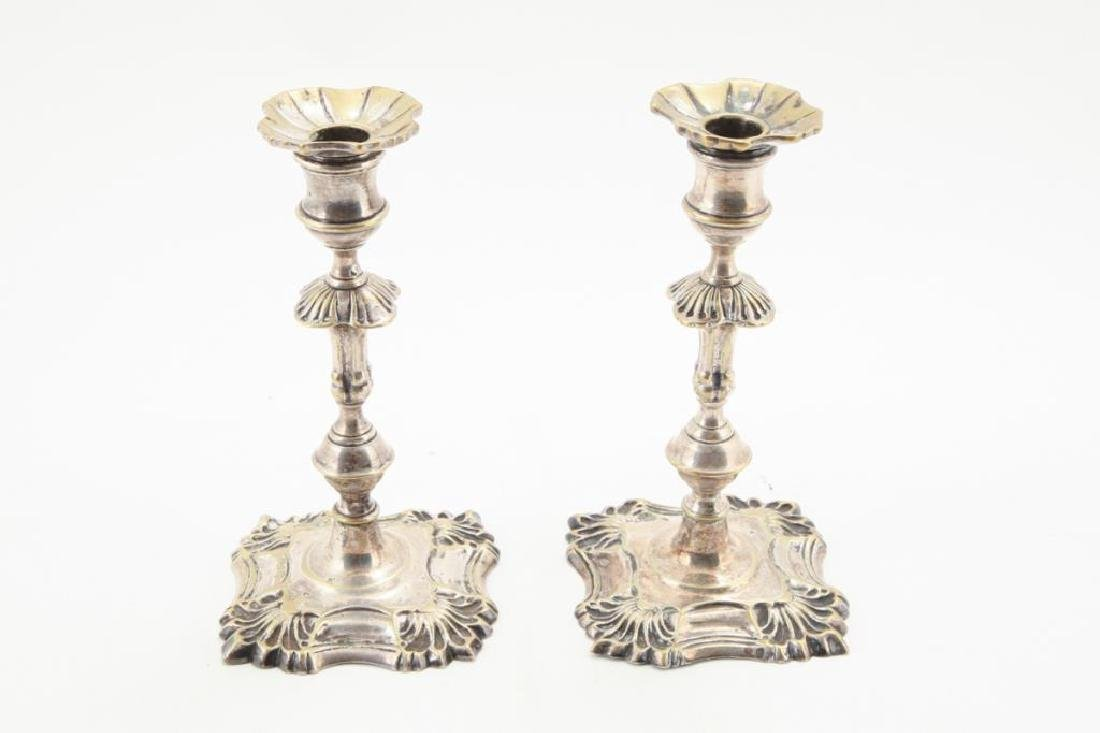 PAIR (18th c STYLE) SILVER PLATED CANDLESTICKS
