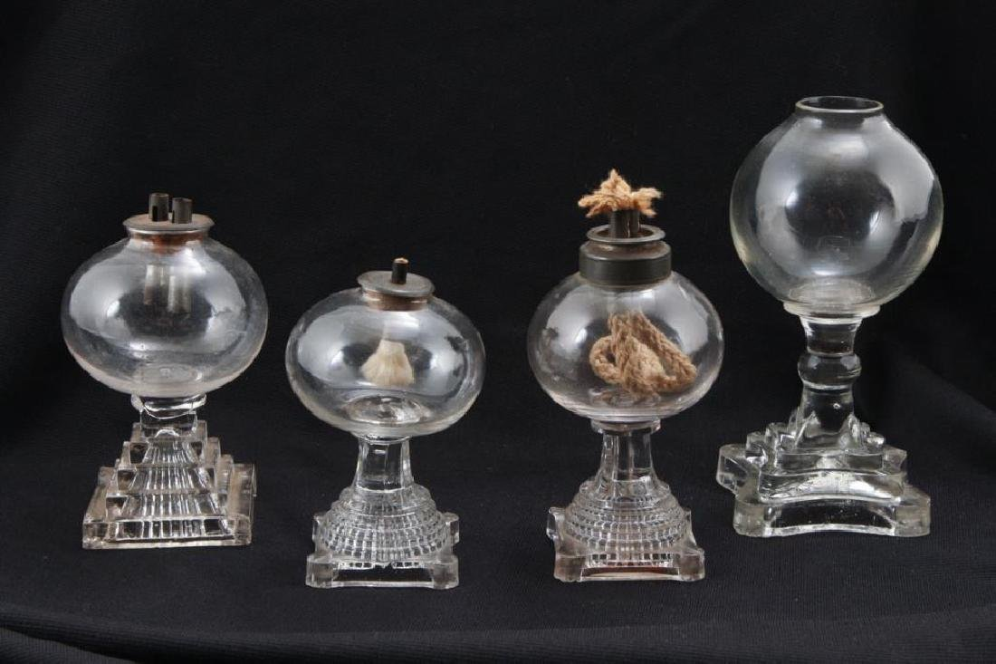 (4) SANDWICH GLASS SPARKING LAMPS