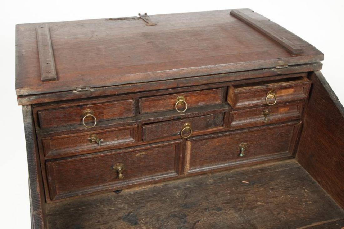 (18th c) OAK SLANT TOP DESK BOX with 1710 BIBLE - 10