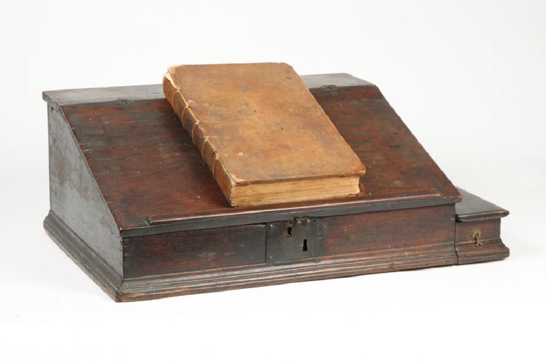 (18th c) OAK SLANT TOP DESK BOX with 1710 BIBLE