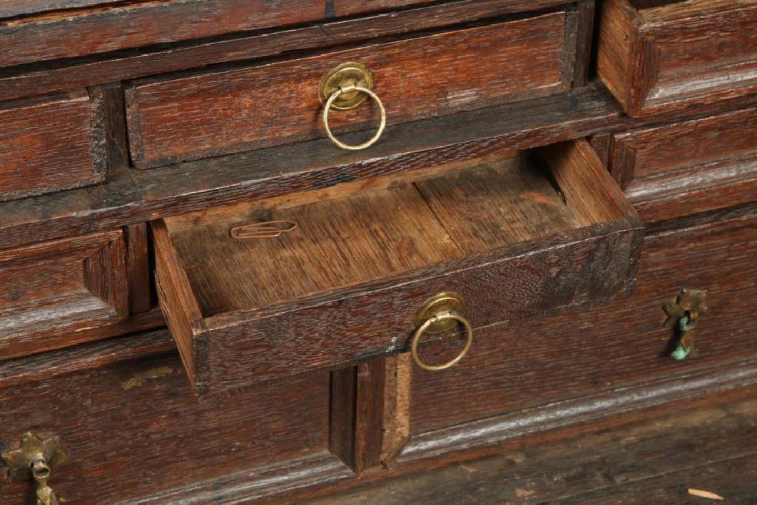 (18th c) OAK SLANT TOP DESK BOX with 1710 BIBLE - 2