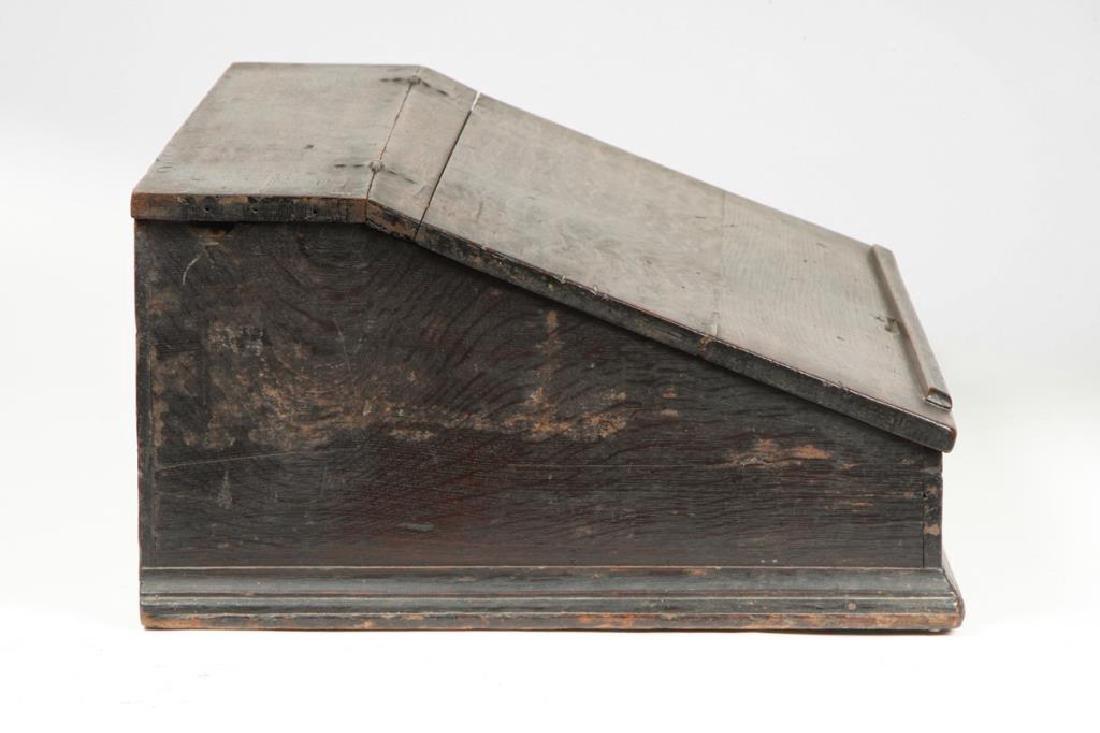 (18th c) OAK SLANT TOP DESK BOX with 1710 BIBLE - 3