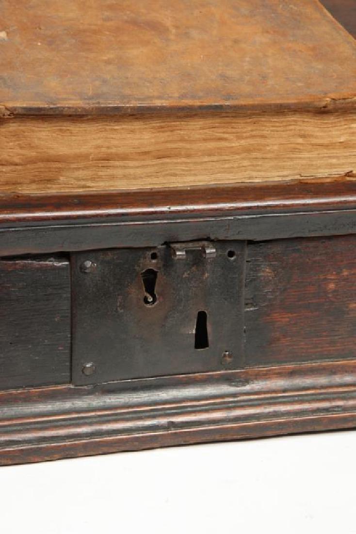 (18th c) OAK SLANT TOP DESK BOX with 1710 BIBLE - 4