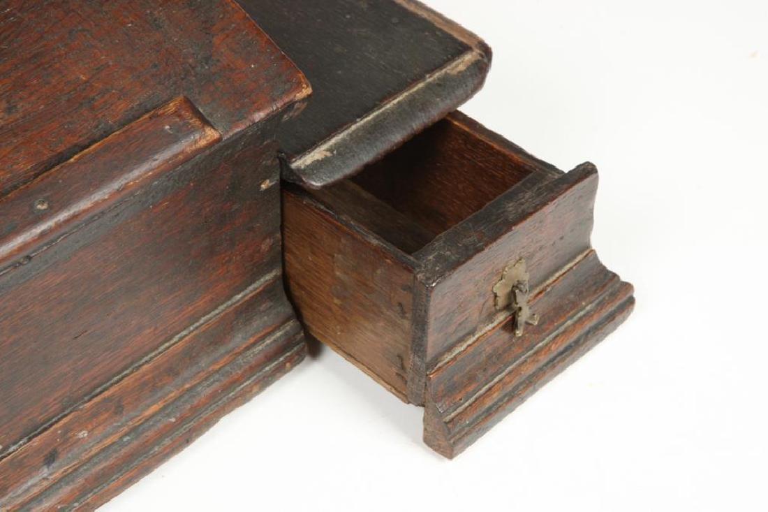 (18th c) OAK SLANT TOP DESK BOX with 1710 BIBLE - 5