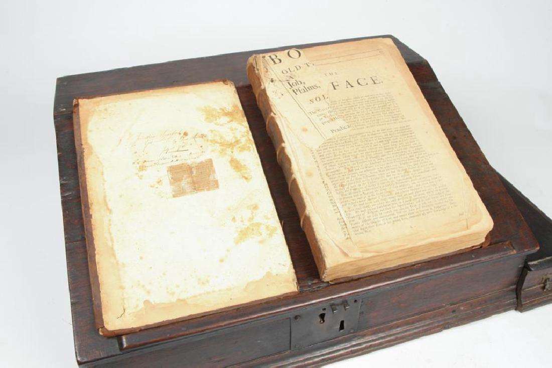 (18th c) OAK SLANT TOP DESK BOX with 1710 BIBLE - 6