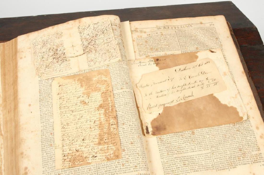 (18th c) OAK SLANT TOP DESK BOX with 1710 BIBLE - 8