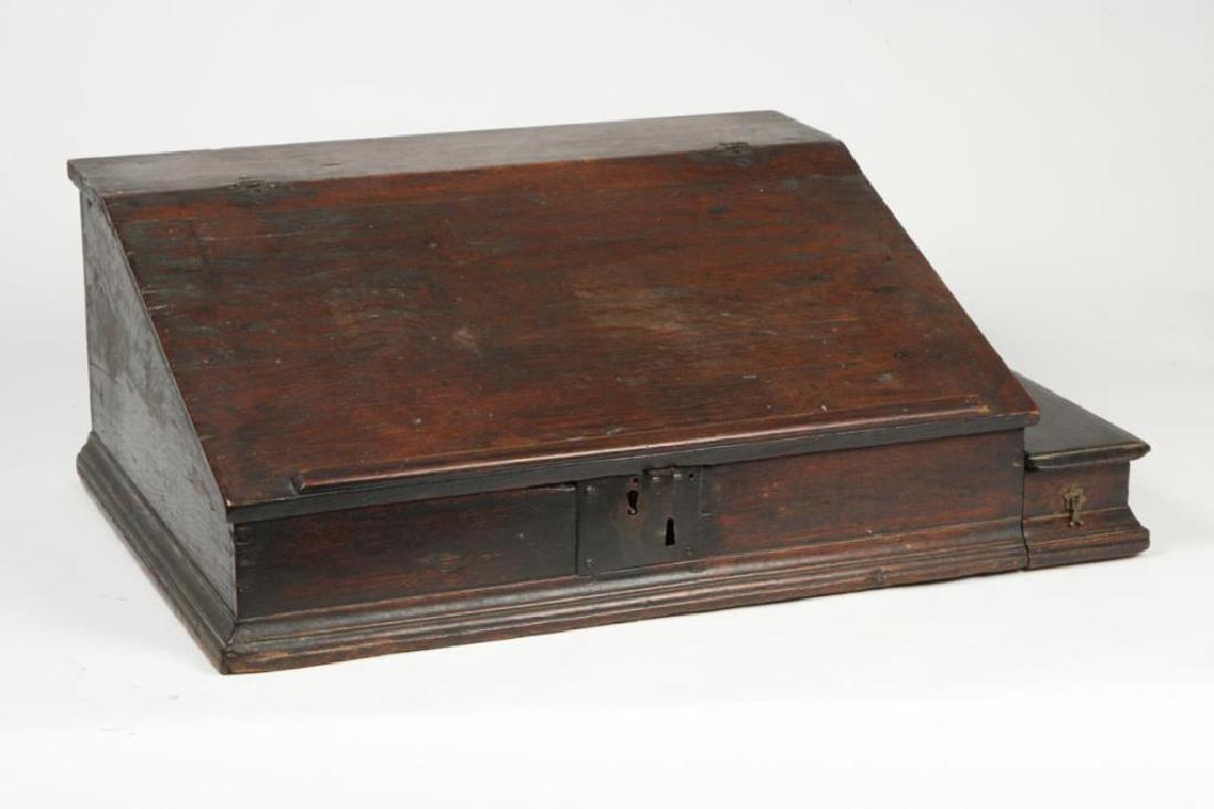 (18th c) OAK SLANT TOP DESK BOX with 1710 BIBLE - 9