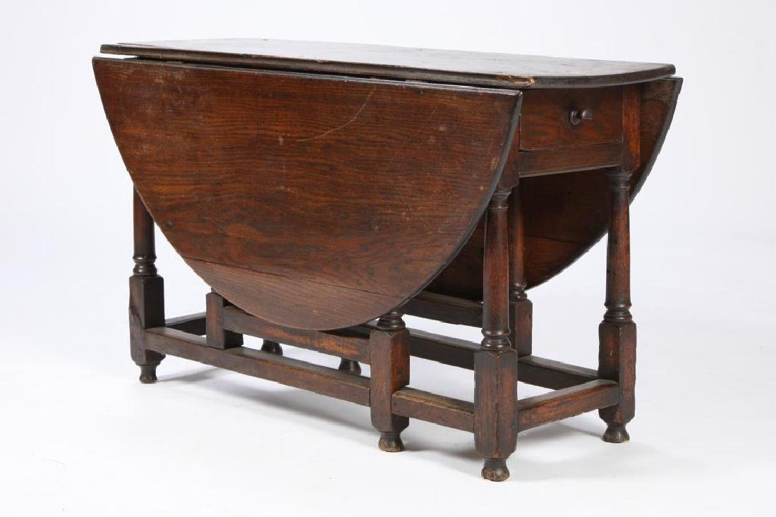 PERIOD OAK GATELEG TABLE with OVAL TOP