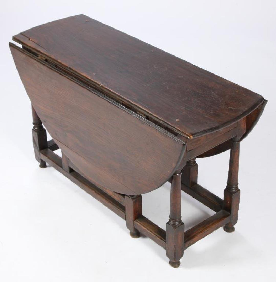 PERIOD OAK GATELEG TABLE with OVAL TOP - 3