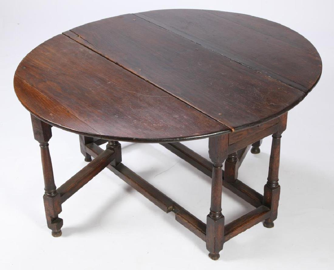 PERIOD OAK GATELEG TABLE with OVAL TOP - 5