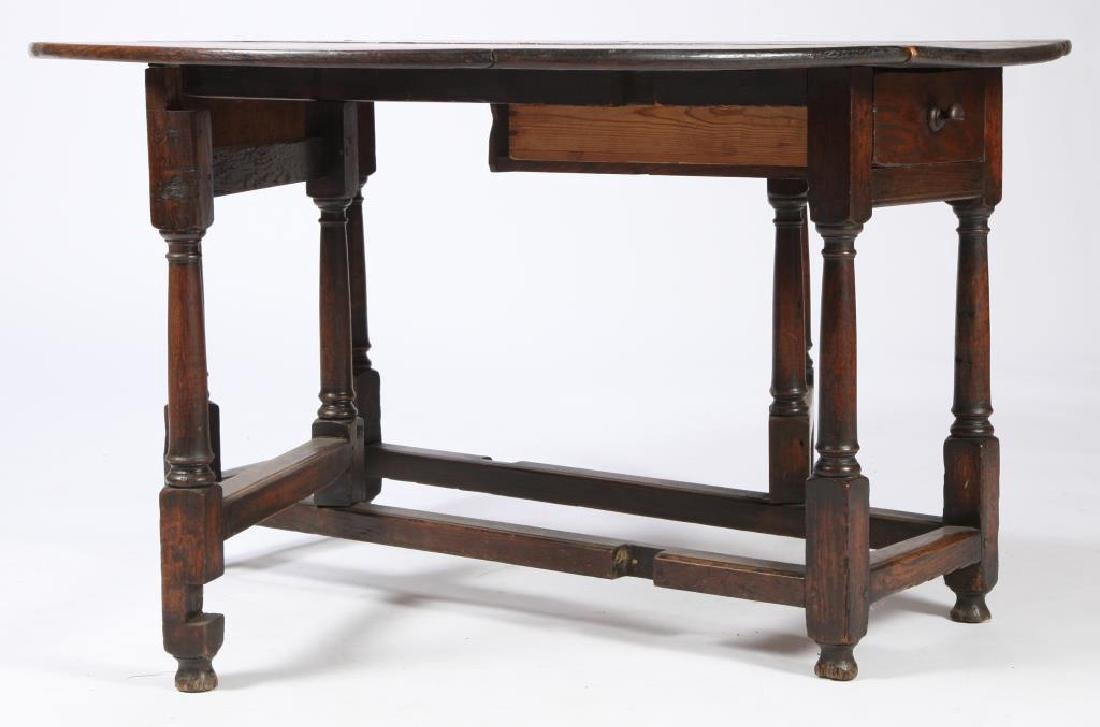 PERIOD OAK GATELEG TABLE with OVAL TOP - 6