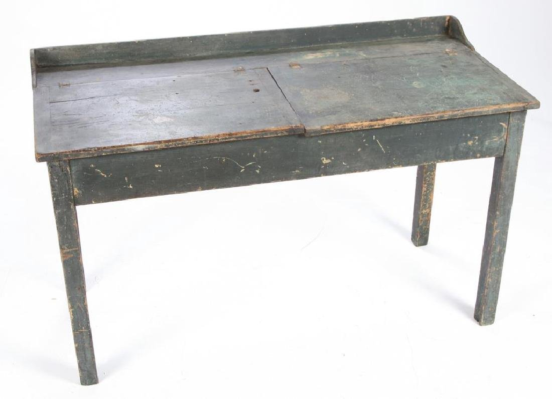 DOUBLE COUNTRY SCHOOL DESK in BLUE PAINT