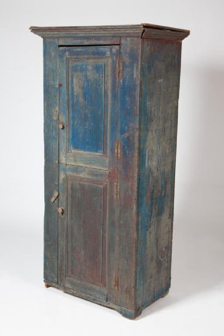 (2) DOOR PINE CUPBOARD IN VIBRANT BLUE PAINT