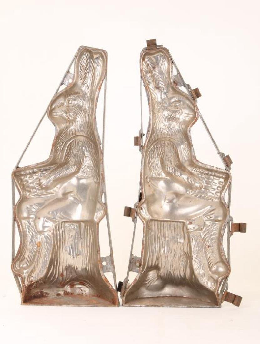 "LARGE PAIR OF ""SEATED RABBIT"" CHOCOLATE MOLDS"