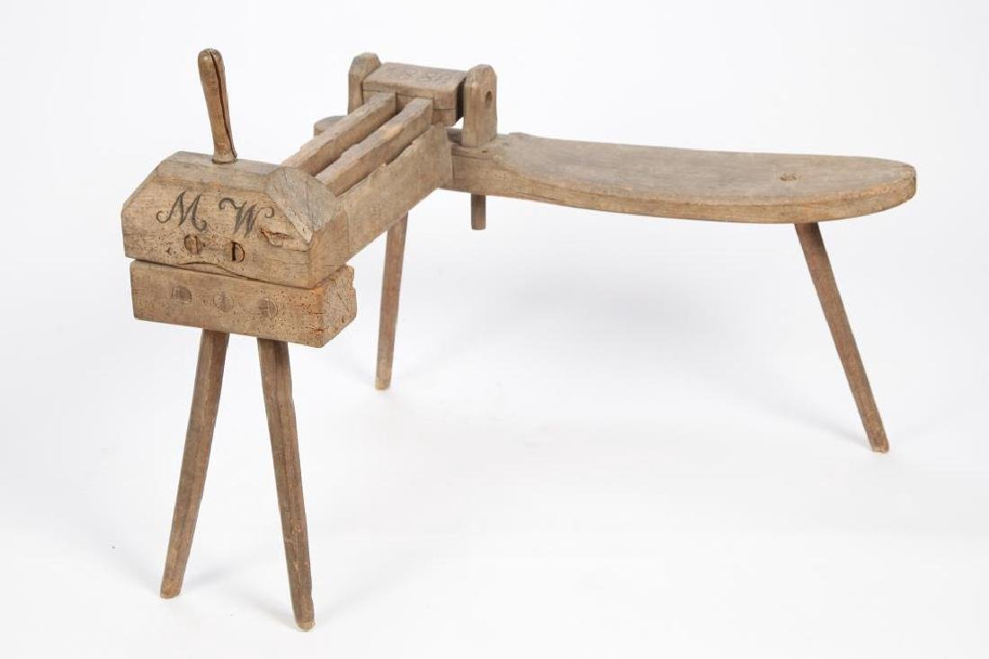 OAK FLAX BREAKER with BUILT-IN STOOL dated 1880
