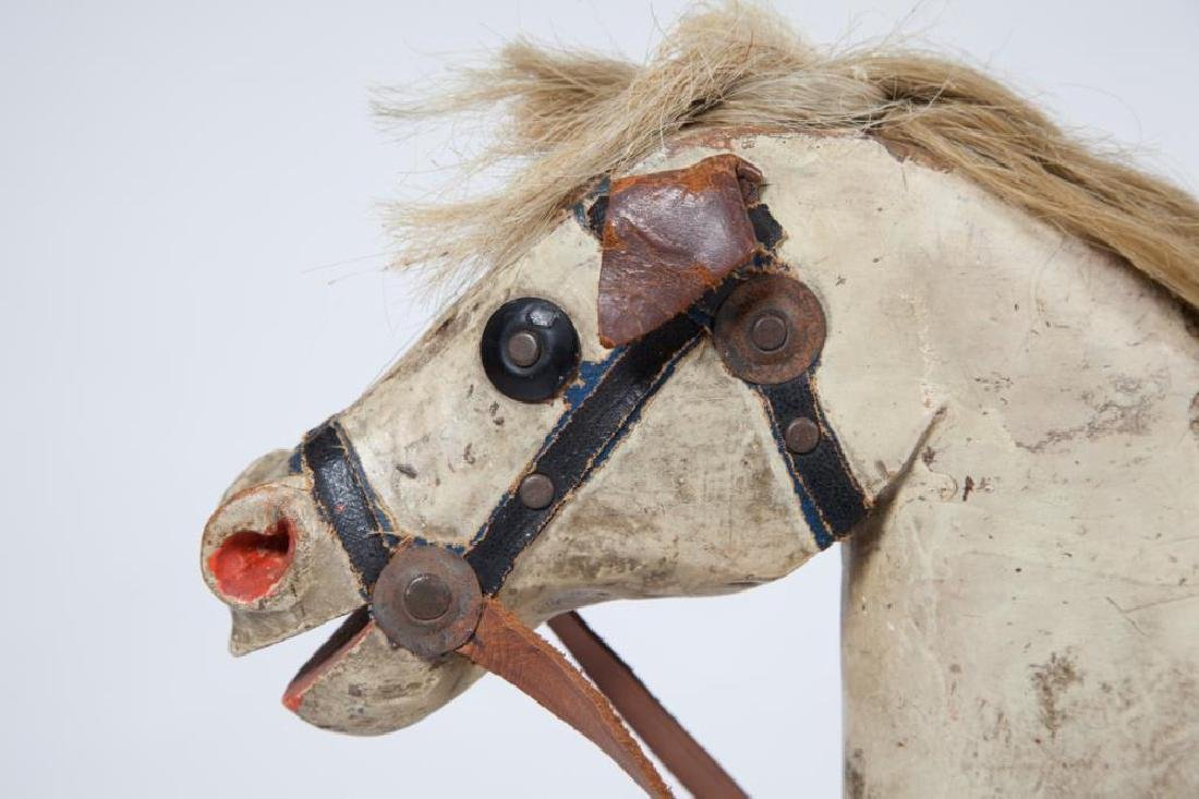 EARLY CARVED AND PAINTED WOOD ROCKING HORSE - 3