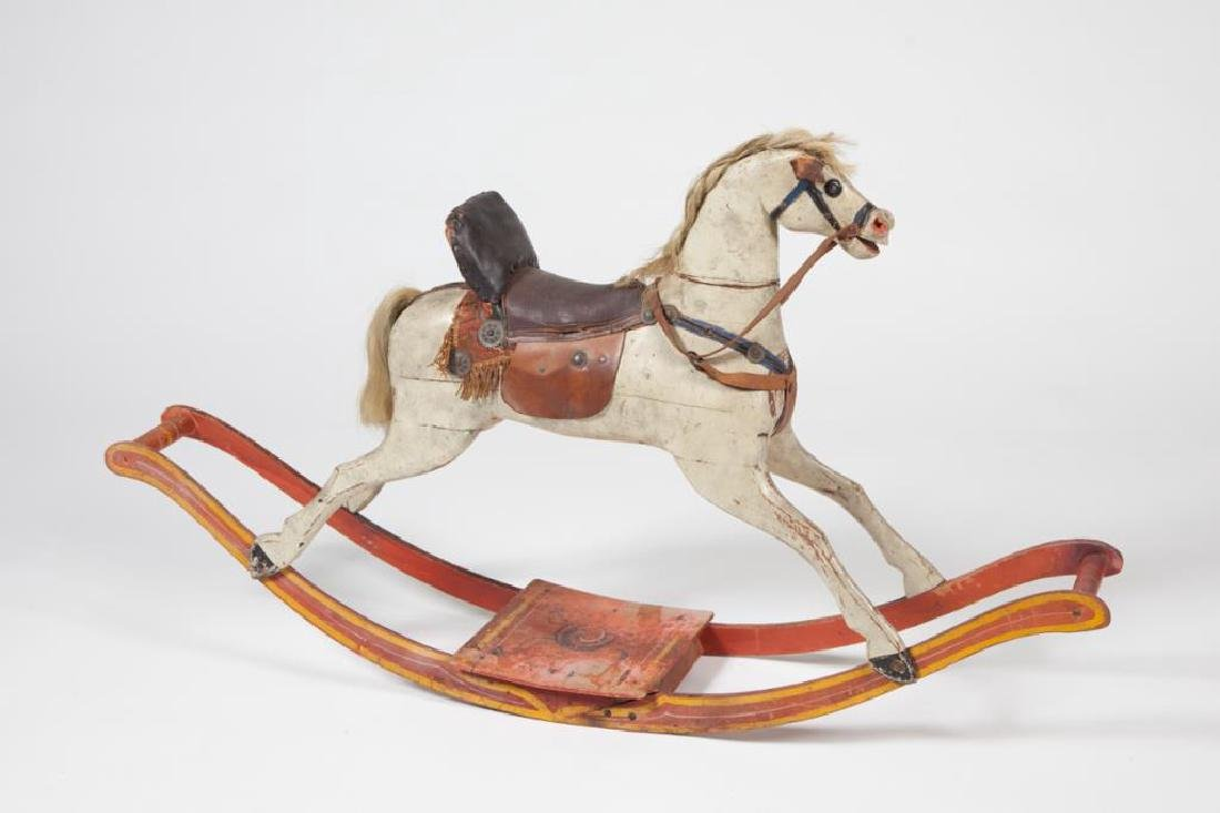 EARLY CARVED AND PAINTED WOOD ROCKING HORSE - 4