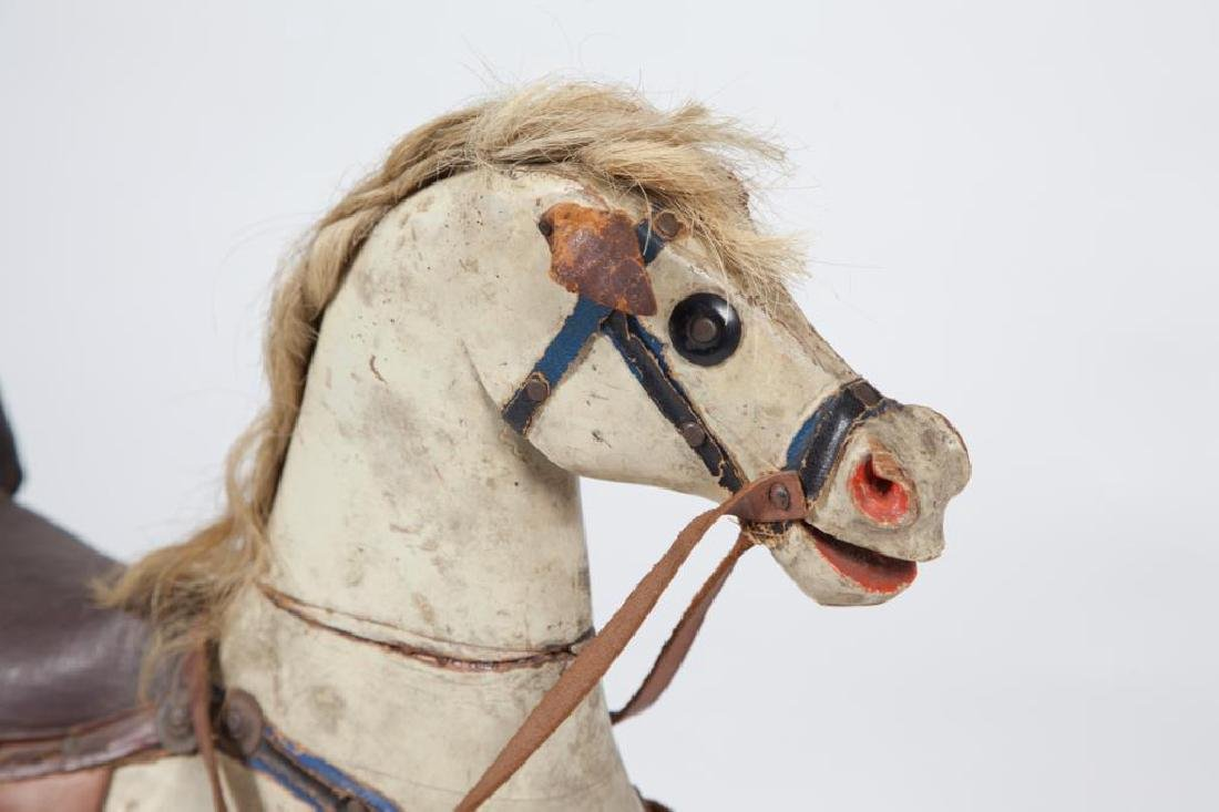 EARLY CARVED AND PAINTED WOOD ROCKING HORSE - 5
